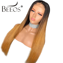 Ombre Honey Blonde Straight Deep Parted Lace Front Wigs 13*4 Colored 1b/27 Brazilian Remy Lace Front Human Hair Wigs Pre Plucked