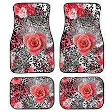 INSTANTARTS Leopard Rose Auto Floor Mats Set of 4 Custom Front and Rear Non Slip Carpet Rugs Floor Mats for Car Washable Carpets for honda civic left drive firm pu leather full car floor mats black grey beige non slip custom made waterproof carpets page 7