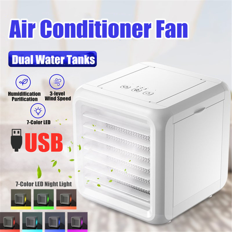 Mini Air Conditioner Portable 7 Colors Light Conditioning Humidifier Purifier USB Desktop Air Cooler Fan With 2 Water Tanks Home