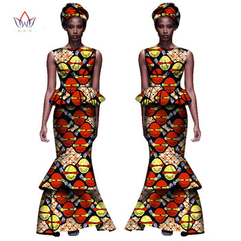 2020 New African Dresses For Women Dashiki Ladies Clothes Ankara O-Neck Africa Clothes Two Pieces Set Natural 6xl None WY1054 - 4, M