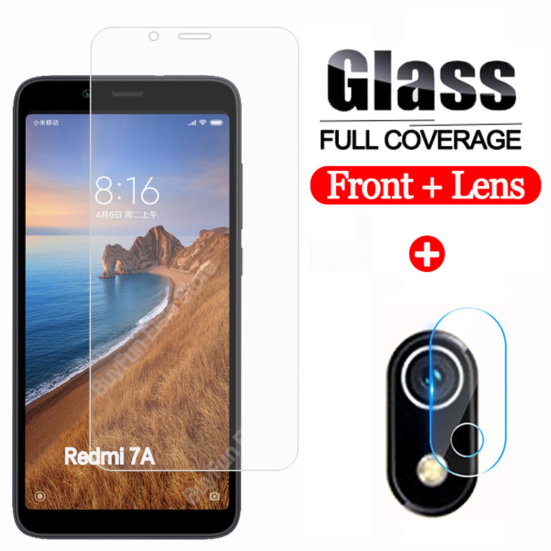 2-in-1 Camera Protector On The For Xiaomi Redmi 7a Camera Lens Screen Protector Glas On Kisomi Redmi 7a 7 A A7 Safety Film Glass