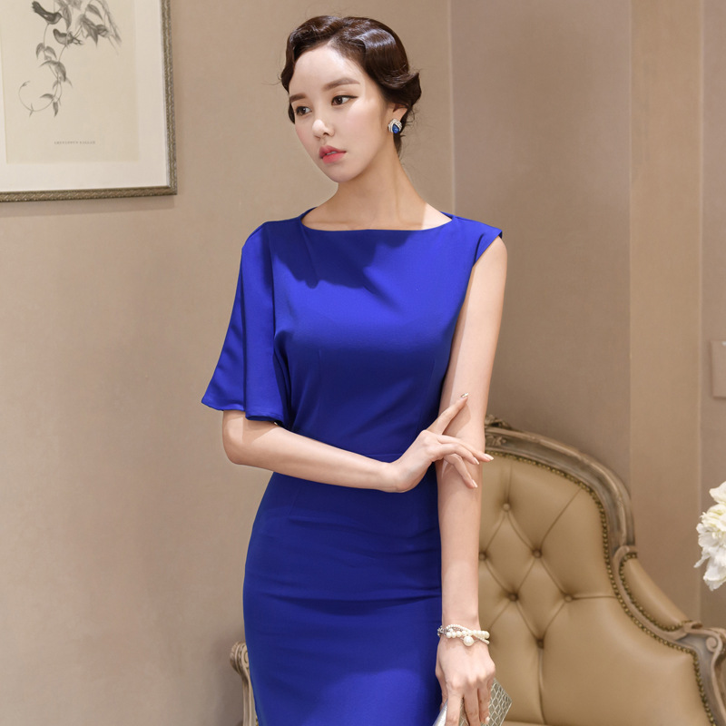Dress 2018 Summer Korean-style New Style Slim Fit Crew Neck Fashion Mid-length Formal Dress WOMEN'S Dress One-step Skirt