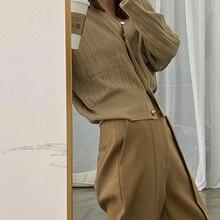 Camel Vertical Stripes Pit Strip V-Neck Knitwear Vintage Clothes Women Metal Buckle All-Match Sweater Cardigan 2021 Spring New