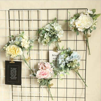 Artificial Flowers Cheap Fake Peony Bride Holding Flowers Vases For Table Setting Home Decoration Accessories Christmas Crafts Leather Bag