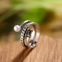 100% Plata de Ley 925 elegante negro flor perla cristal señora anillos de dedo joyería mujeres compromiso anillo abierto No se desvanece chicas
