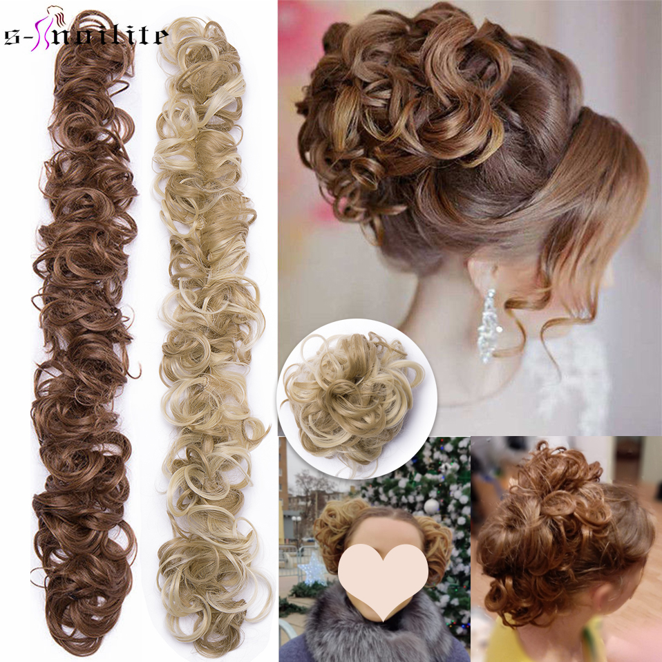S noilite Heat Resistant Fiber Women Black Brown Rubber Band Curly Chignon UPDO Synthetic Hairpieces Bun hair extension extension curly extensions bandesextensions blond - AliExpress