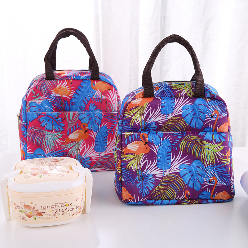 Flower Printing Portable Lunch Bags Waterproof Oxford Women Student Lunch Box Thermo Bags Office School Picnic Cooler Bags Bolso