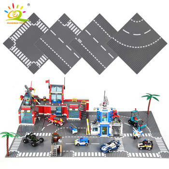 HUIQIBAO City Street Base Plate Crossroad Curved Road Baseplates Compatible Architecture Car Truck Building Blocks 1