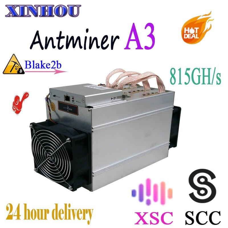 Mineur Asic utilisé Antminer A3 815GH/s Blake2b utilisé dans l'exploitation minière SCC XSC plus économique que s9 L3 Z9 Z11 T17 what sminer M3
