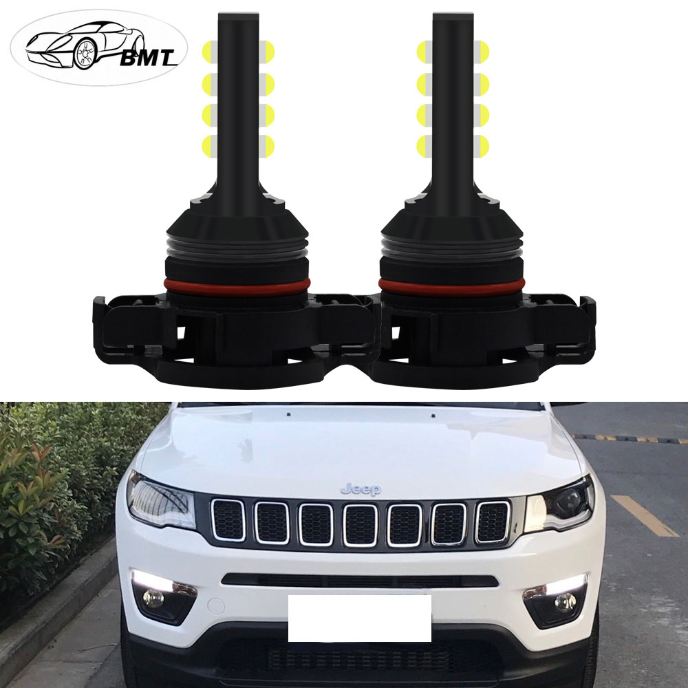 BMT CANBUS No Error 2504 PSX24W LED Driving DRL Daytime Running Light Bulbs For 2017-up Jeep Compass LED DRL Light White