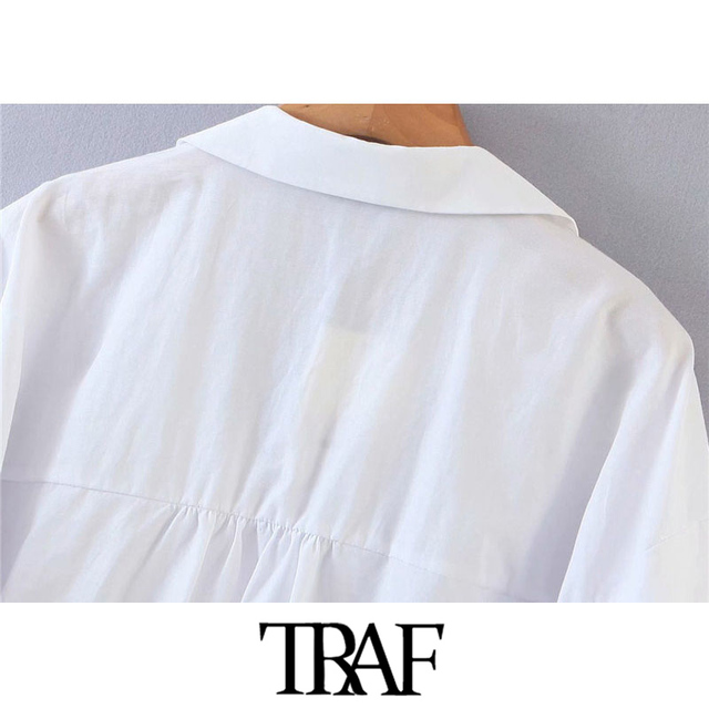 TRAF Women Fashion Button-up Loose Irregular Blouses Vintage Lantern Sleeve Side Vents Female Shirts Blusas Chic Tops 6