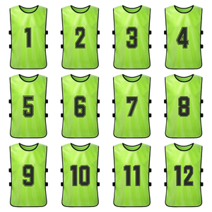 Image 3 - 12 PCS Adults Soccer Pinnies Quick Drying Football Team Jerseys Youth Sports Scrimmage Soccer Team Training Numbered Bibs