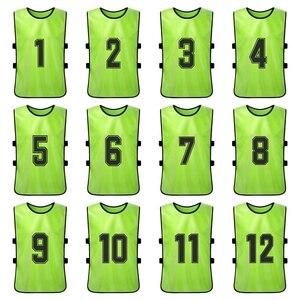 Image 3 - 12 sztuk dorosłych piłka nożna Pinnies szybkoschnący drużyna piłki nożnej koszulki młodzieżowe sportowe Scrimmage drużyna piłki nożnej szkolenia numerowane śliniaki
