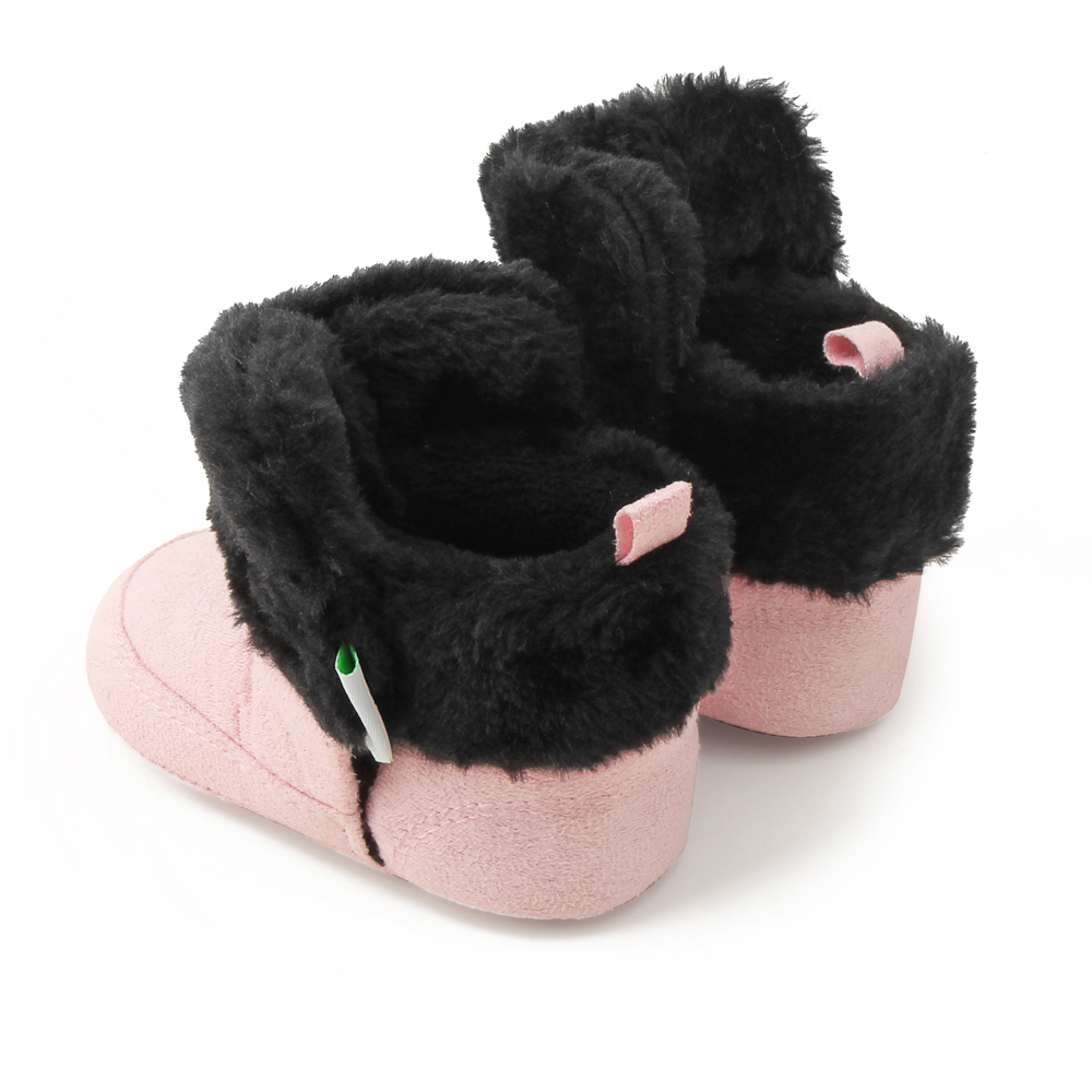 (0-24months)Winter Baby Boots Fluffy Warmly Baby Shoes Handmade High Quality Soft Cotton Sole  Lace-Up Toddler Shoes For Baby