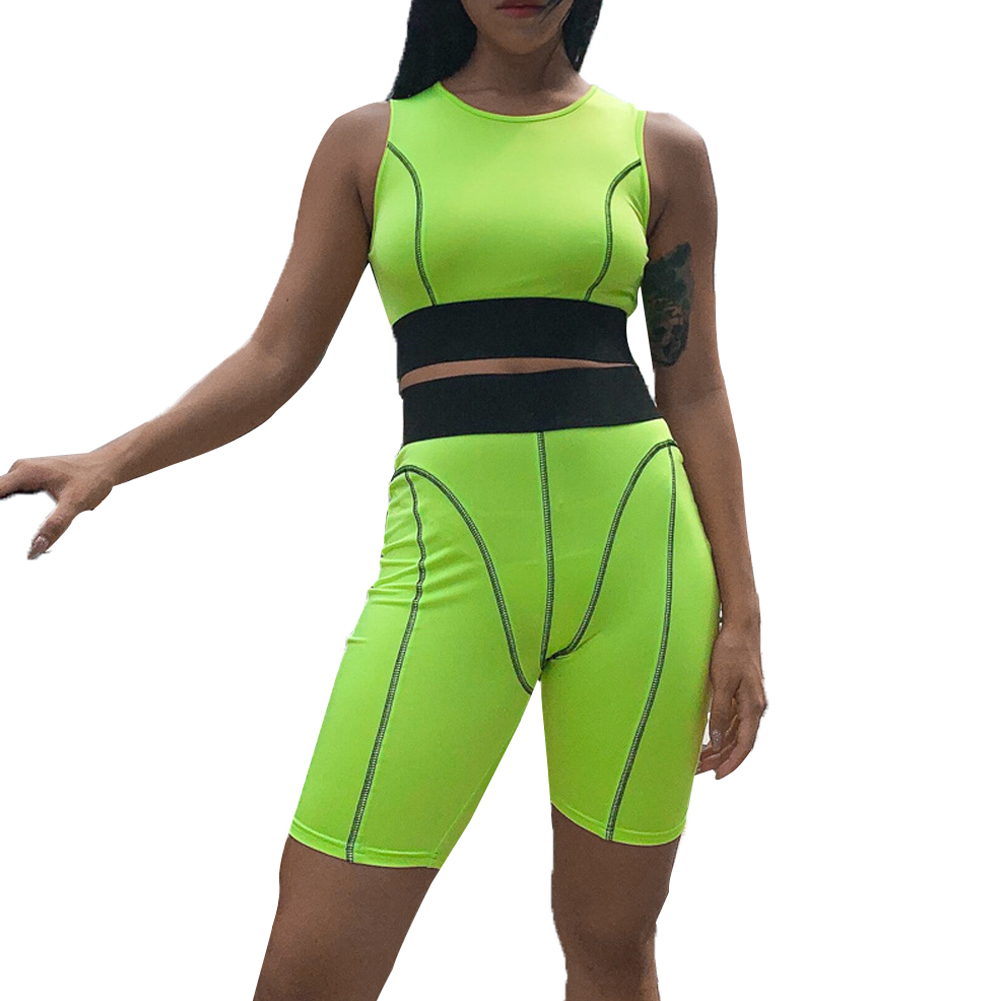 Goocheer stripe lines patchwork camis biker shorts 2 piece set 2019 summer women fashion casual streetwear crop tops tracksuit in Women 39 s Sets from Women 39 s Clothing