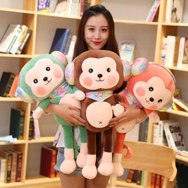 New 30cm-90CM Kawaii Wearing Headphones Monkey Long Arm Tail  Stuffed Doll Plush Toys Baby Sleeping Appease Doll Birthday Gifts
