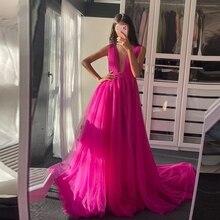 A Line Long Prom Dresses Sexy V Neck Backless Fuchsia Tulle Sleeveless Formal Evening Party Vestidos De Fiesta Custom Made