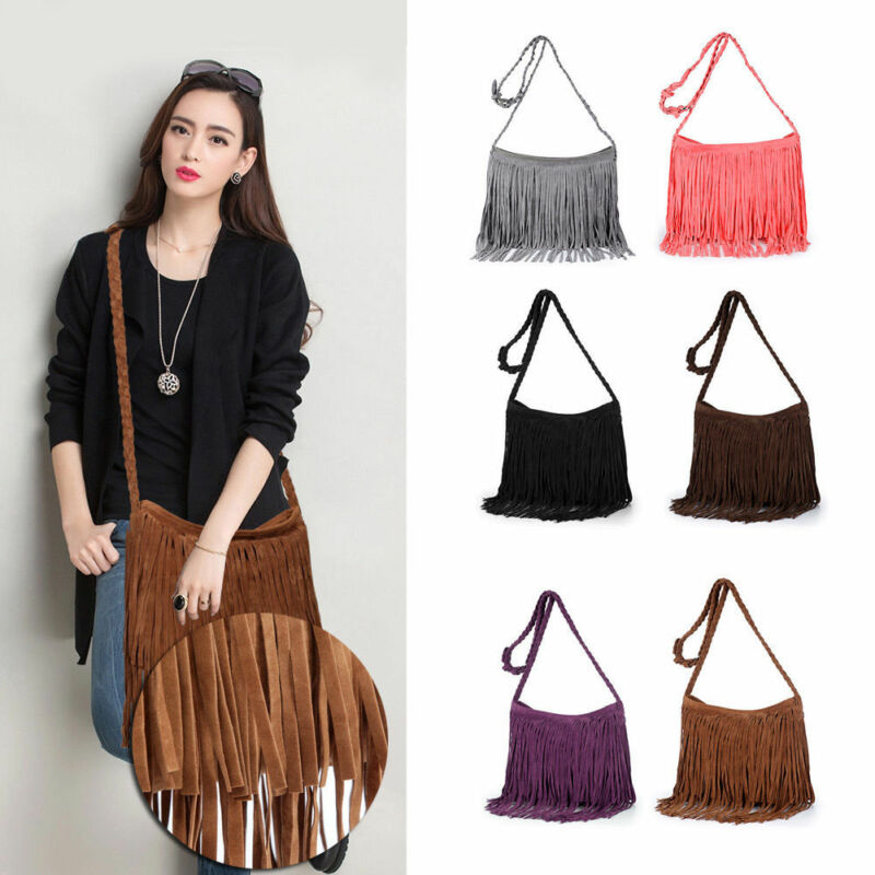 Women Tassel Fringe Shoulder Messenger Faux Suede Handbag Cross Body Bag Purse Soplid Zipper Large Capacity