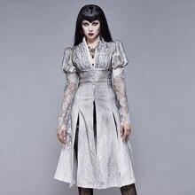 Abrigo gótico Vintage de manga de burbuja una línea chaqueta de invierno para mujer Chaqueta de vestir de retazos de encaje con cuello en V blanco