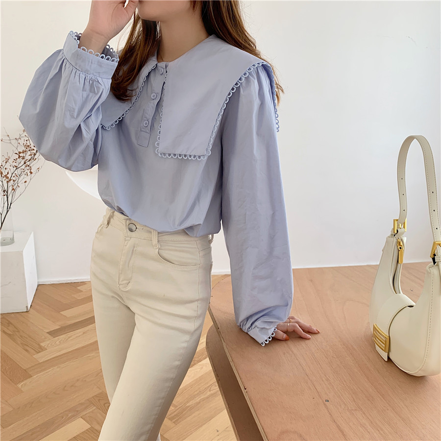 H20bcae4a30a84a8b845b9ecc8918d175O - Spring / Autumn Puritan collar Long Sleeves Solid Blouse