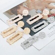 AENSOA, розовое золото/серебро, прямоугольные серьги-капли из сплава, геометрические массивные матовые металлические серьги, свадебные ювелирные изделия