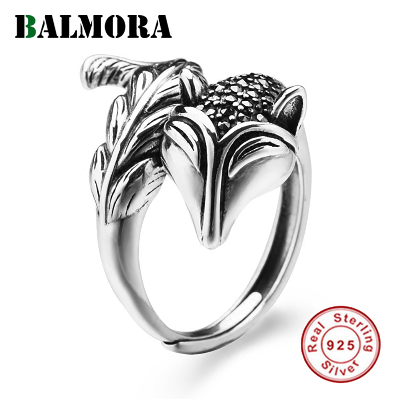 BALMORA Solid 925 Sterling Silver Mosaic Fox Open Rings for Women Men Gift Cute Animal Silver Fashion Jewelry Anillos MKS20295
