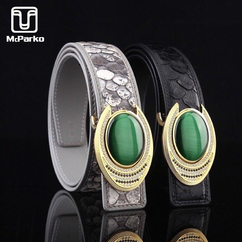McParko Luxury Python Belt Genuine Leather Snakeskin Belt Men Jeans Waist Belts 38mm Stone Buckle Design Elegant Husband Gift