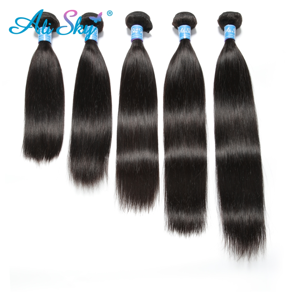 """H20bd01c0adba4a618d7e1efbde55da23n Indian Straight Hair Bundles 4 Bundles With Closure Human Hair Bundles With Closure Ali Sky 4""""x4"""" Top Lace Closure Remy"""