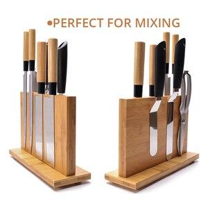 Image 4 - Магнитный держатель для ножей с мощным магнитом, большой бамбуковый деревянный блок для ножей без ножей, двухсторонний Универсальный блок для ножей