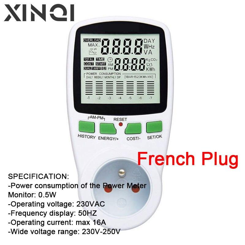 Wattmètre numérique LCD compteur dénergie puissance en watts prise française électricité Kwh compteur dénergie mesure prise de mesure Analy de puissance
