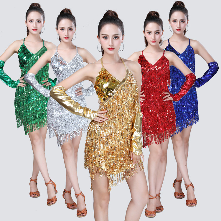 2019 New Style Tassels Latin Sequin Dancing Dress Tassels Costume Sequin Backless Latin Dance Game Clothing