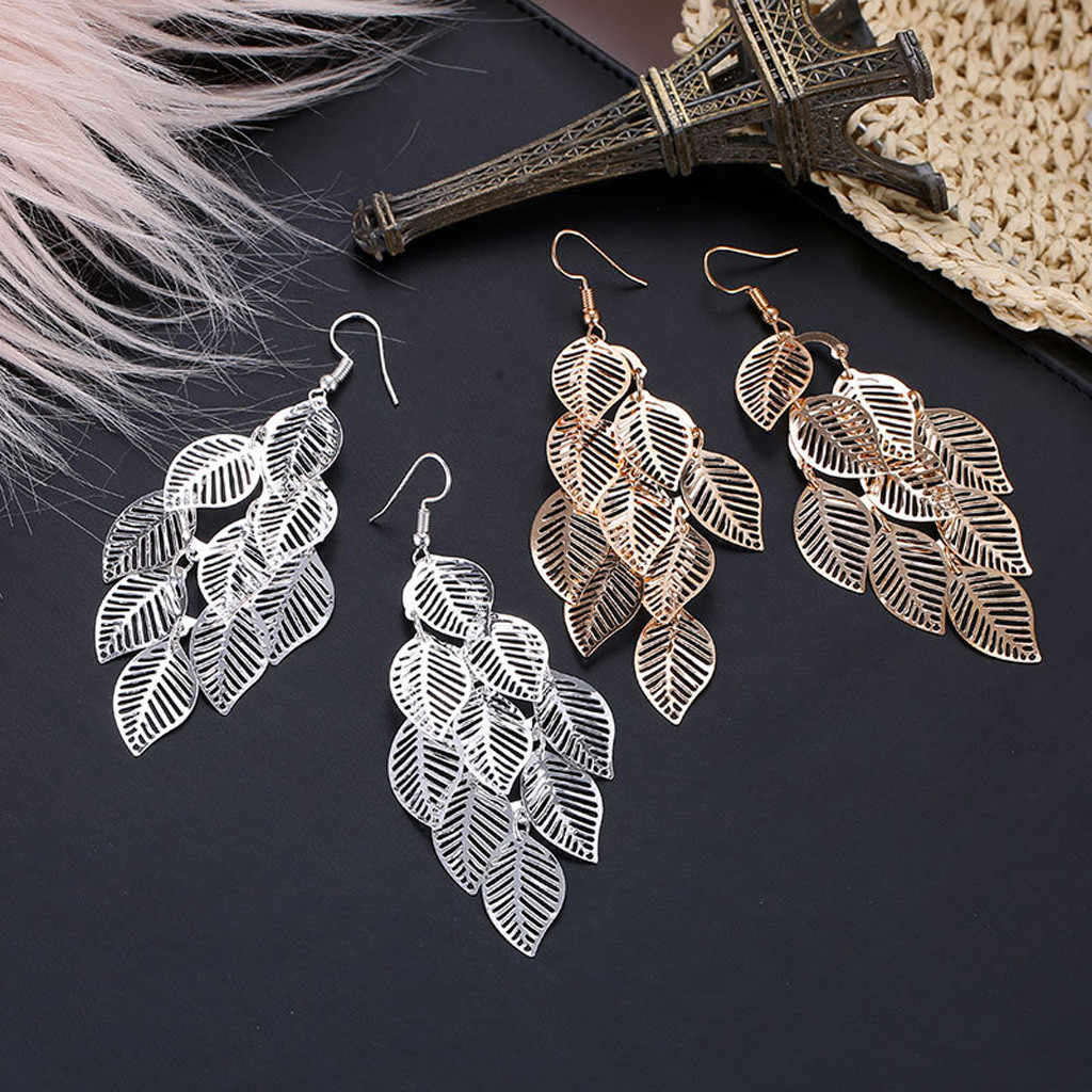 Creative บุคลิกภาพต่างหู Boho ธรรมชาติ Leaf DROP Dangle EAR Hook เครื่องประดับงานแต่งงานของขวัญ Leaf รูปร่างต่างหูยาว