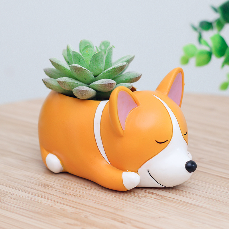 Drop Shipping Creative Flower Pot Cartoon Dogs Planter Puppy Resin Planters Pots For Flowers Flower Desktop Macetas Home Garden