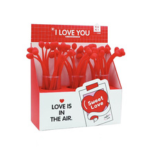 Red Love Heart Gel Pen for Valentine's Gift Lovers Pen for Girls 48pcs/lot Soft Silicone 0.5mm Black