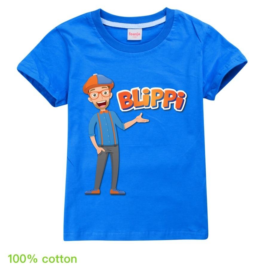 Toddler Girl Tops BLiPPi Children Cartoon T-shirt 2020 Boys Cotton T-Shirts Kids Fashion Summer Tops Tees for 2-14Y Teens Shirt 4