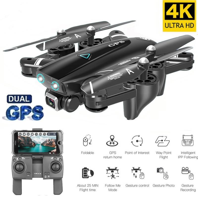Best Camera Drone 4K 1080P HD Dual Camera Follow Me Quadrocopter FPV Professional GPS Long Battery Life Toy For Kid(China)