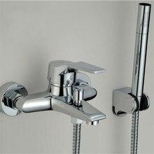 Современный Смеситель для ванной комнаты Смеситель для ванной и душа настенное крепление Душ Насадка для ванной кран клапан смеситель