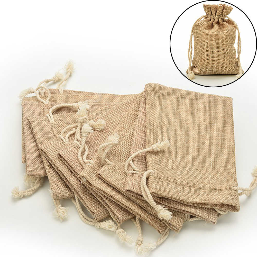 6 Sizes Mini Jute Drawstring Burlap Bags Wedding Favors Party Christmas Gift Jewelry Hessian Sack Pouches Packing Storage Bag