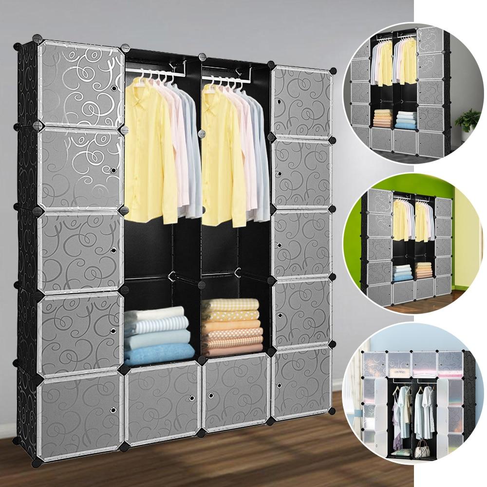 20 Grids Simple Wardrobe Closet Organizer Simple Storage Box Cabinet DIY Fold Portable Storage Furniture For Bedroom