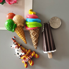 3D Simulation Food Cute Cone Ice Cream choc-ice Resin Refrigerator Magnet Customized Wholesale Production