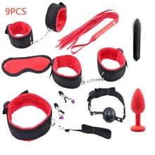 SM produkty zabawki erotyczne dla kobiet mężczyzn Nylon BDSM Sex Bondage zestaw seksowna bielizna kajdanki bat Rope korek analny z wibratorem zabawy dla dorosłych