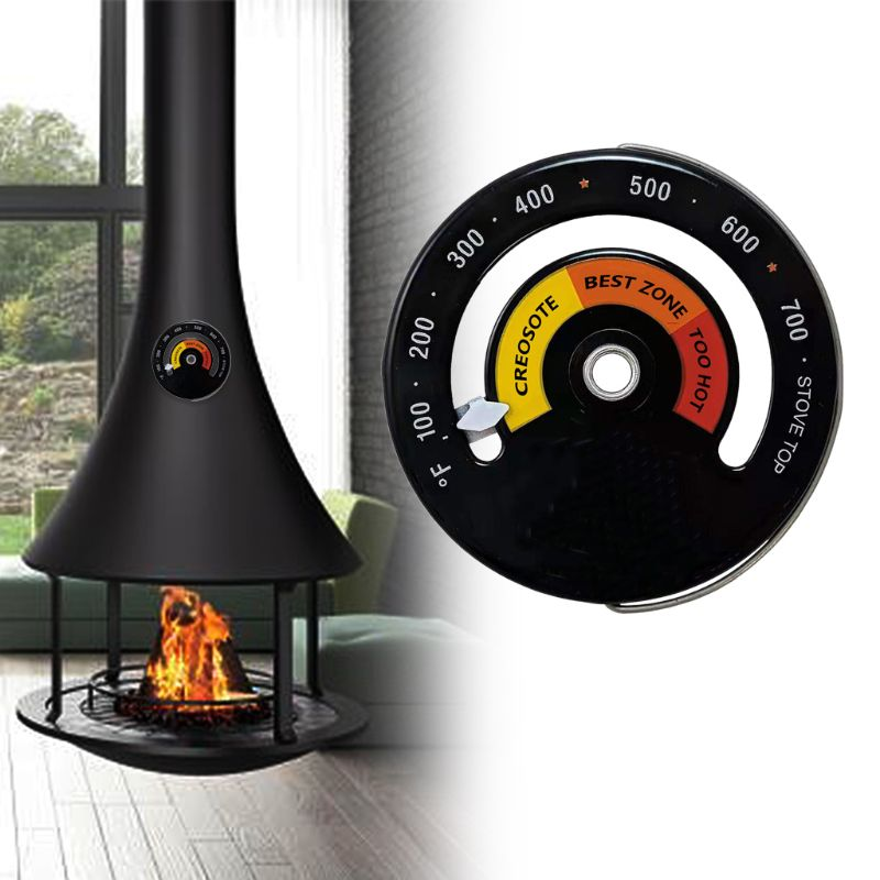 Magnetic Wood Stove Thermometer Heat Powered Temperature Gauge For Log Burning F1FC