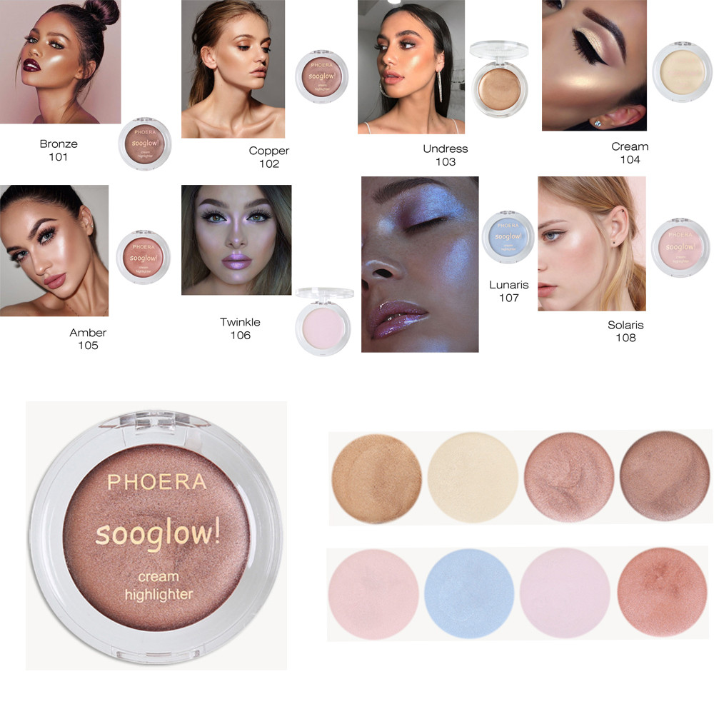 PHOERA Highlighter Make Up Shimmer Cream Face Highlight Eyeshadow Glow Bronzer Highlighter Make Up Shimmer Cream GK108 1