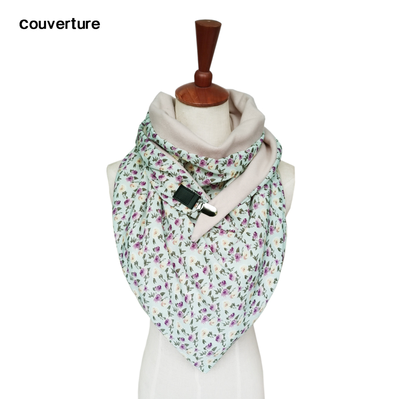 Women Warm Scarves Design Print Button Soft Wrap Casual Shawls Cashmere Silk Triangle Scarf Handmade Poncho Echarpe Hiver Femme
