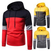2019 casual striped stitching jacket mens cardigan hoodies sweatshirt long-sleeve slim hoodie