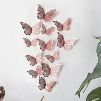12Pcs 3D Hollow Butterflies Mirror Wall Stickers For Kids Rooms Bedroom Living Room Fridge Decorative Wallpaper Home Wall Decor beautiful feather shape wall sticker home bedroom living room 3d mirror surface wall decorative stickers