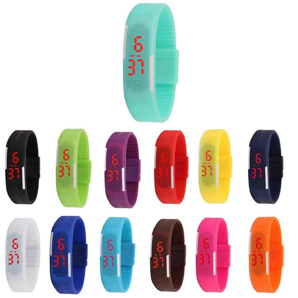 Unisex hombres mujeres moda silicona rojo LED deportes pulsera táctil Digital Reloj de pulsera