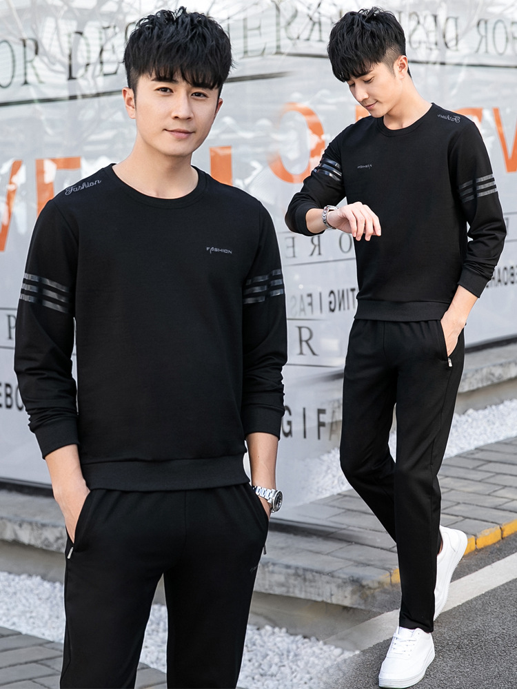 Leisure Sports Suit Men's Spring And Autumn New Style Running MEN'S Sportswear Hoodie Cotton Large Size Men'S Wear Fitness Cloth