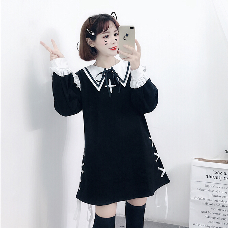 2020 Spring New Japanese Loli Soft Girl Embroidery Fungus Stitching Sweet Bandage Lantern Sleeve Dress Female Lolita Costumes