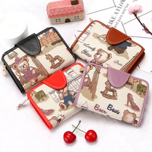 Womans wallet Small New Winnie the Pooh Cute Buckle lady Short Leather weave Women Wallet Zipper Purses Female Purse Clutch 524
